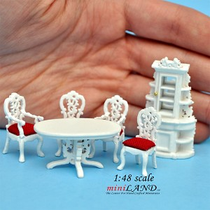 "1:48 1/4"" quarter scale Victorian dinning room set 6pcs Top quality White"