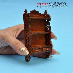 Beautiful wall shelves unit with two drawers for 1:12 dollhouse miniatures walnut wood