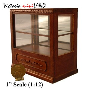 "Clearance sale - Shop store Counter unite for 1:12 dollhouse miniature DISPLAY CABINET wood walnut 3.3""L"