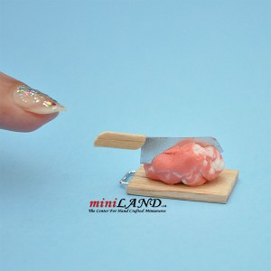 pork meat knife board display dollhouse Miniature butcher 1/12 BUT1