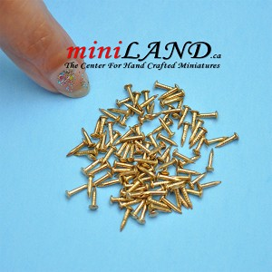 "Brass 1/4"" 6mm long x 1mm Nails  with head 100pc/pkg"