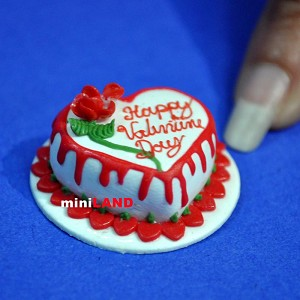 Happy Valentine's Day Heart cake 1:12 dollhouse miniature handmade Bakery SP05