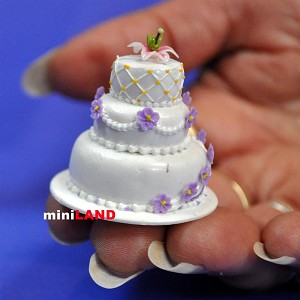 Wedding Cake for 1:12 Scale dollhouse miniature handmade polymer clay wc012