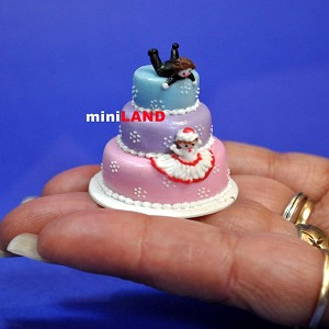 Wedding Cake for 1:12 Scale dollhouse miniature handmade polymer clay wcb3
