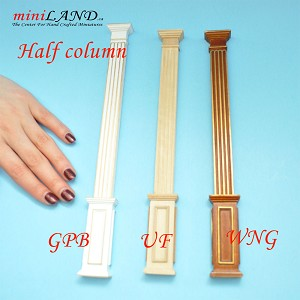 "Half Square column 4""-10""  telescopic, wood for 1:12 dollhouse miniature White with Gold"
