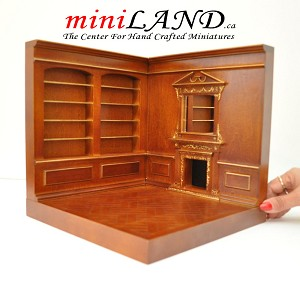 Corner roombox fireplace shelves 1:12 scale for dollhouse miniatures walnut with gold