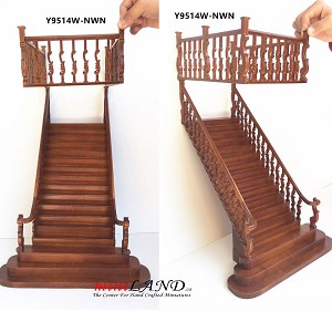 "Quality Wide Baroque staircases 9""-10"" 1:12 Scale Miniature Wooden dollhouse stair WN with railing"