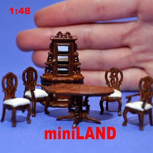 "1:48 1/4"" quarter scale dinning room set 6pcs wood handcraft chair table"