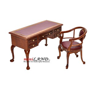 Captain's Desk + chair Quality office set Leather top