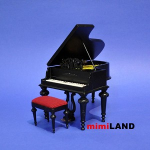 Piano + stool for 1:12 Scale dollhouse miniature wood seat Quality Black
