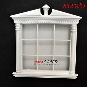 Carved Double Window dollhouse miniature 1:12 white
