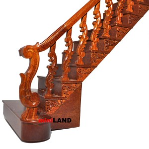 "Quality Baroque staircase 9""-10"" 1:12 Scale Miniature Wooden dollhouse stair WN with railing RIGHT"