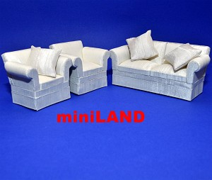 Living room 3pcs fine quality Dollhouse miniature 1:12 3pcs sofa chair