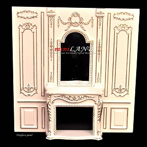 Fireplace panel - Royal Paneling line White for dollhouse miniature 1:12