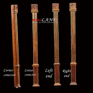 Columns, corners, centers, ends - Royal Paneling line Walnut 1:12 scale